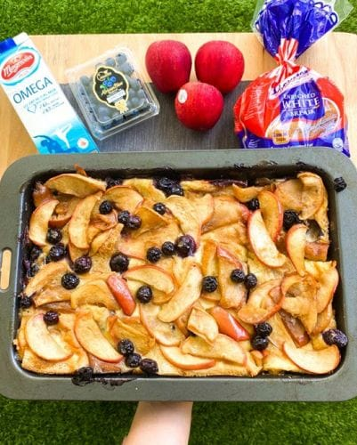 Apple & Blueberry Bread & Butter Pudding