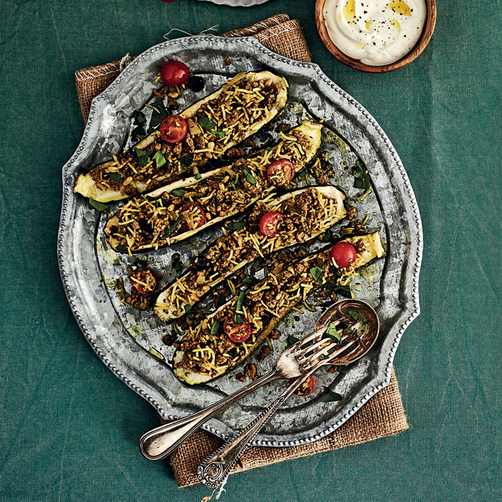 Spiced Lamb and Zucchini Boats